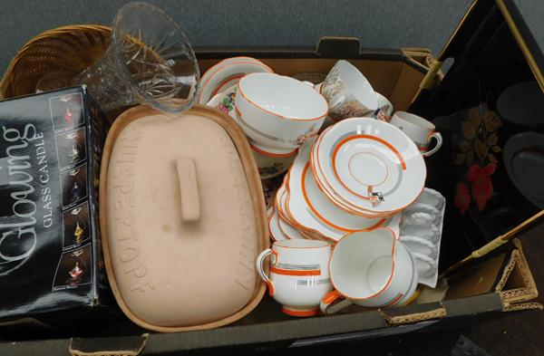 Box of mixed china, incl. hand painted art deco plates & saucers