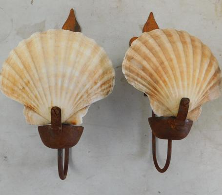 Pair of shell wall candle holders