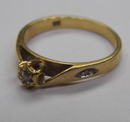 9ct gold diamond solitaire ring, size M