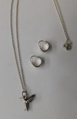 "18"" silver (925) chain with hummingbird pendant and pair of silver (925) earrings"