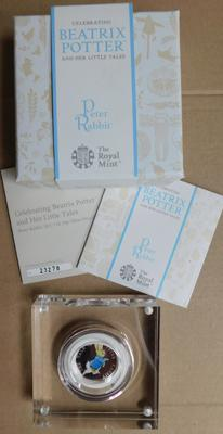 Royal Mint Beatrix Potter Proof 50p with box and papers. 23,278/40,000