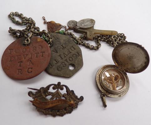 Assortment of collectable items including Armentieres badge and ID tags