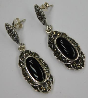 Pair of silver jet and marcasite earrings