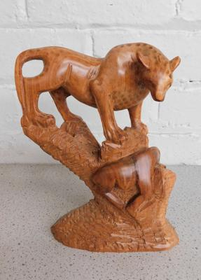 Wooden carved cat figural group