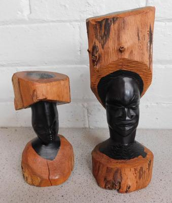 Pair of wooden carved busts - tallest 10""