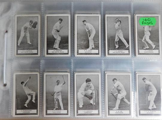 40 pages of mixed cigarette cards, incl. sports cards