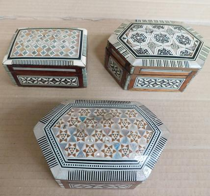 3 wooden inlaid mother of pearl trinket boxes