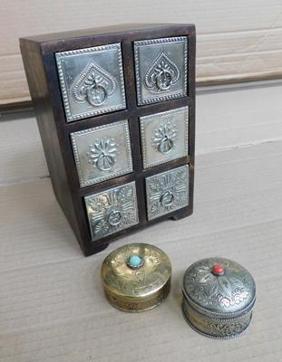 "Wood and metal small storage box approx 5x5x8"" and 2 metal decorative trinket boxes"