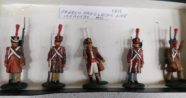 Five painted French Napoleonic Line Infantry soldiers