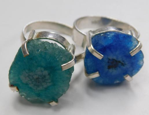 Two unusual sterling silver quartz geode rings