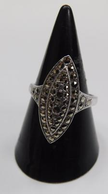 Vintage Art Deco period Navette form marcasite ring, circa 1930