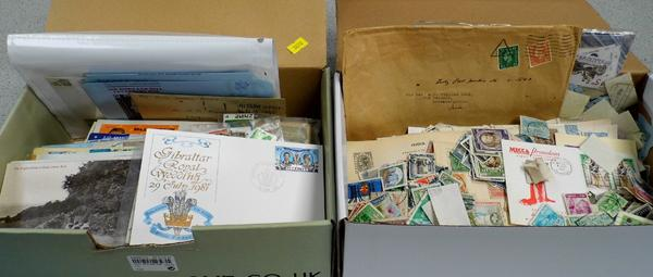 2 boxes of stamps/presentation packs/postcards