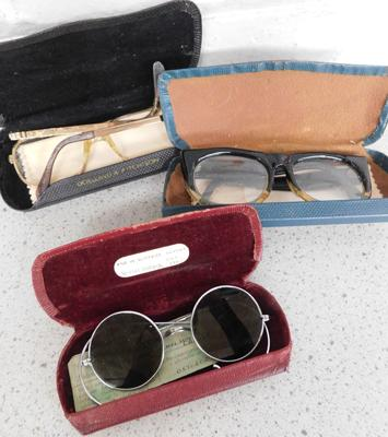3 sets of vintage glasses with cases