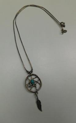 Navajo silver turquoise dream-catcher necklace by Carolyn Pollack