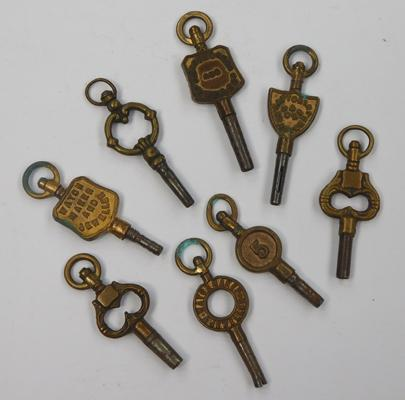 8 Victorian watch keys (four advertising)