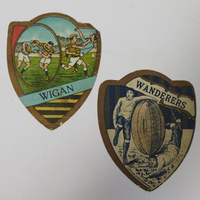 Two Victorian rugby Baines cards