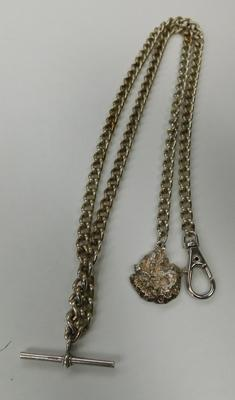 Unusual pocket watch chain with hallmarked silver & T- Bar