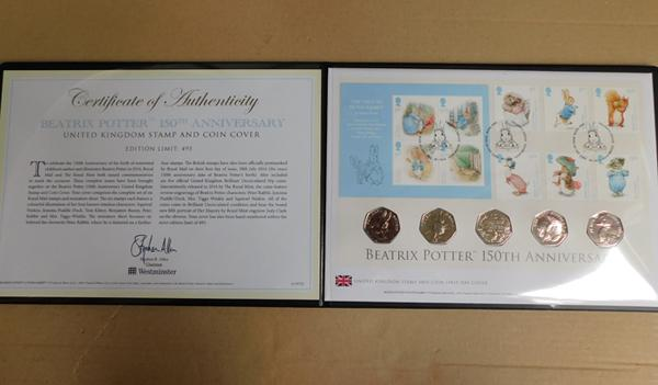 Beatrix Potter 150th Anniversary stamp and coin cover
