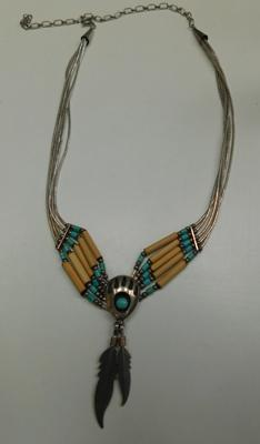 Navajo silver turquoise Carolyn Pollack feather strand necklace