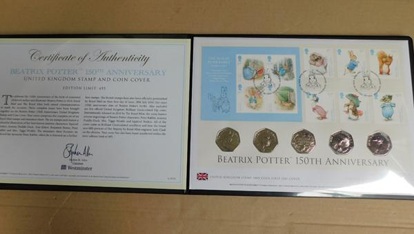 Beatrix Potter 150th Anniversary Stamp & Coin cover