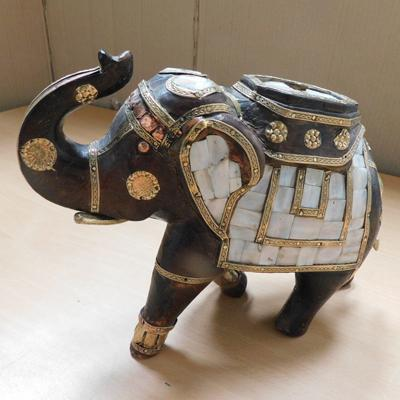 "Highly decorative wood,brass, copper and mother of pearl elephant 8"" tall x 10"" wide"