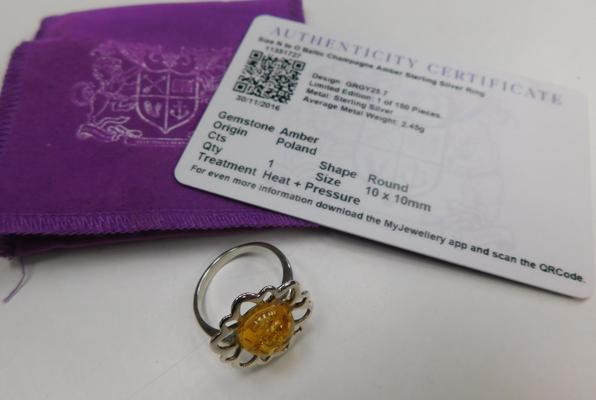 Baltic champagne amber sterling silver ring,size N to O