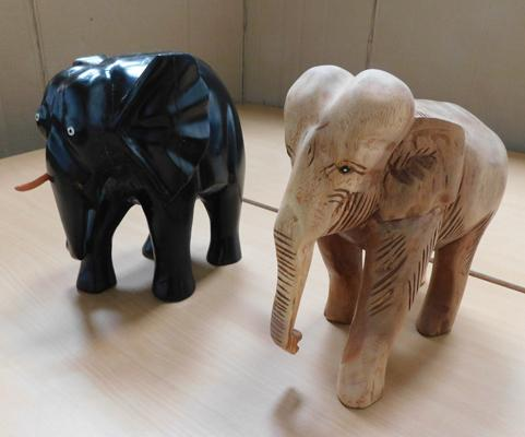 Pair of wooden carved elephants (1 missing a tusk)