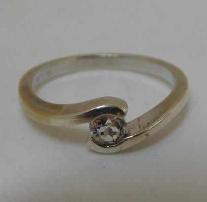 9ct white gold, white sapphire solitaire ring, size N 1/4