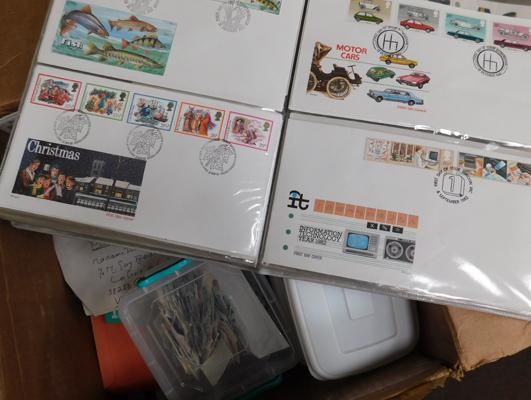 Box containing large quantity of stamps, First Day Covers etc.