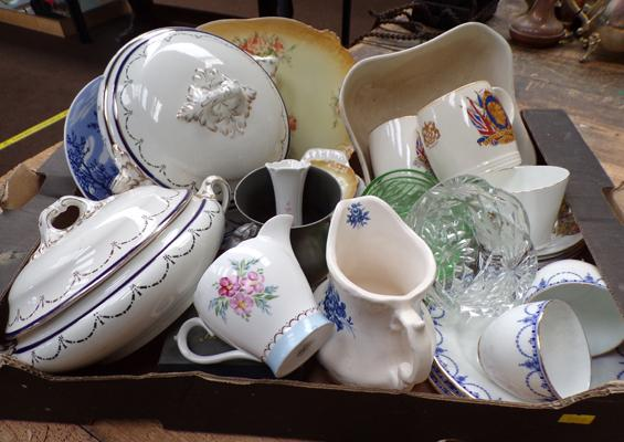 Box of mixed ceramics including Shelley, Staffordshire etc.