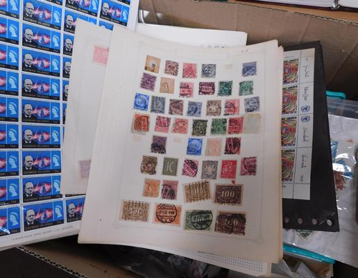 Large box of stamps, full sheets etc.