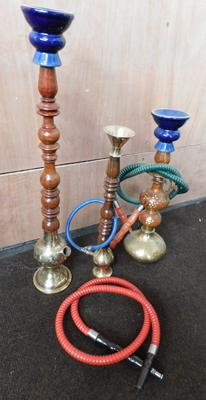 3 brass and wooden Shisha pipes - largest 18""