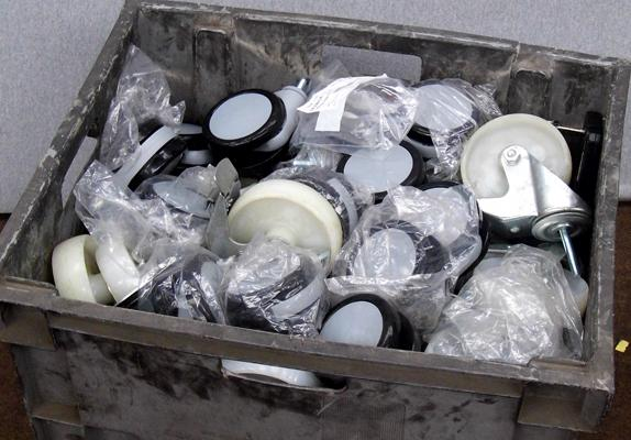 Large box of new unused trolley or large furniture castors