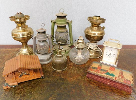 4 x vintage lamps + music box & other miscellaneous items incl. carriage clock