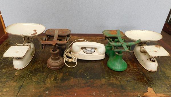 Four pairs of vintage scales +  vintage telephone