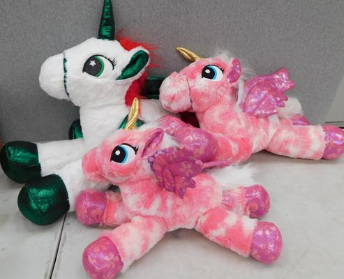Three large unicorn new soft toys by Paws