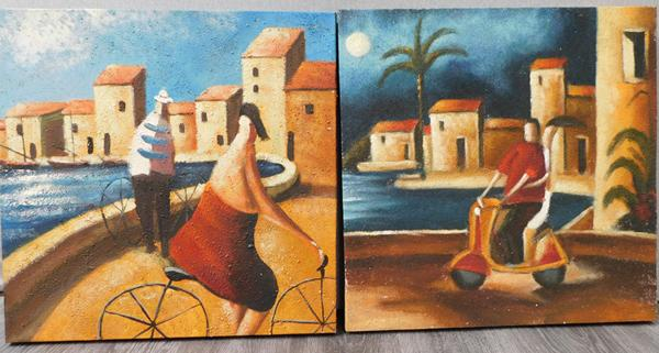 Pair of sand art canvas pictures