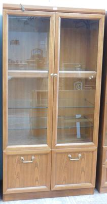 Oak coloured glass fronted display cabinet