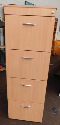 "4x Drawer filing cabinet in wood with 2 keys - 52"" tall"