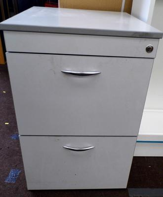 "2x Drawer filing cabinet in wood - no key - 28"" tall, with grey finish"