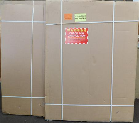 "2x Whiteboard, unused, packaged with fittings - package size 48"" x 63"""