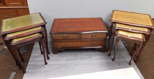 2 sets of nested tables and inlaid cabinet