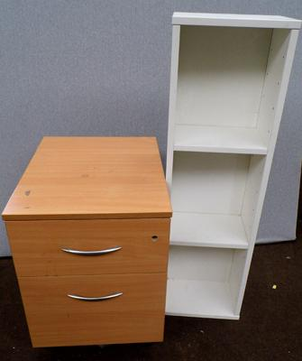 Two drawer filing cabinet & small three shelf display stand
