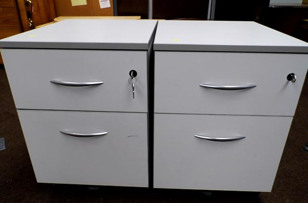 2x 2 drawer small filing cabinets in grey - with keys