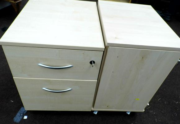 2x Drawer filing cabinet on wheels and cupboard on wheels (needs handles)