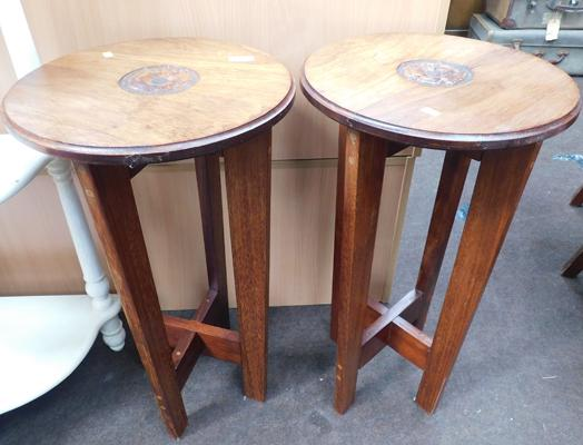 2 x small side tables with rose carving