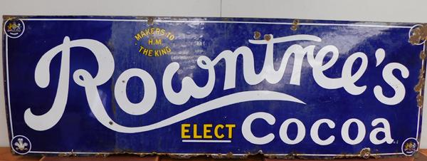 "Large vintage enamel Rowntree Cocoa sign  20""x60"""