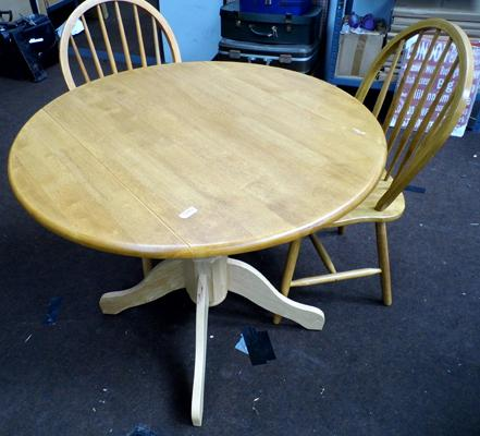 Beech drop leaf table & two farmhouse chairs