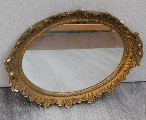 Vintage mirror with  plastic frame, approx. 14 x 18 inches