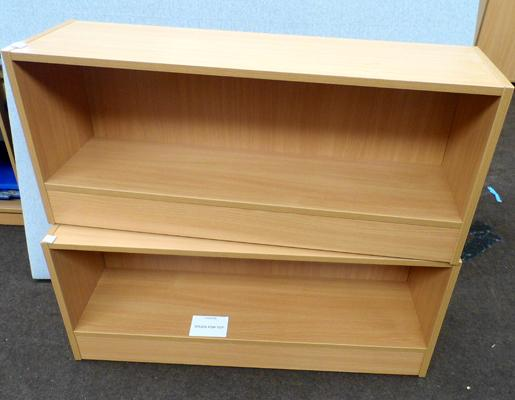 2 x beech display units - approx. 39 x 12 x 17 inches